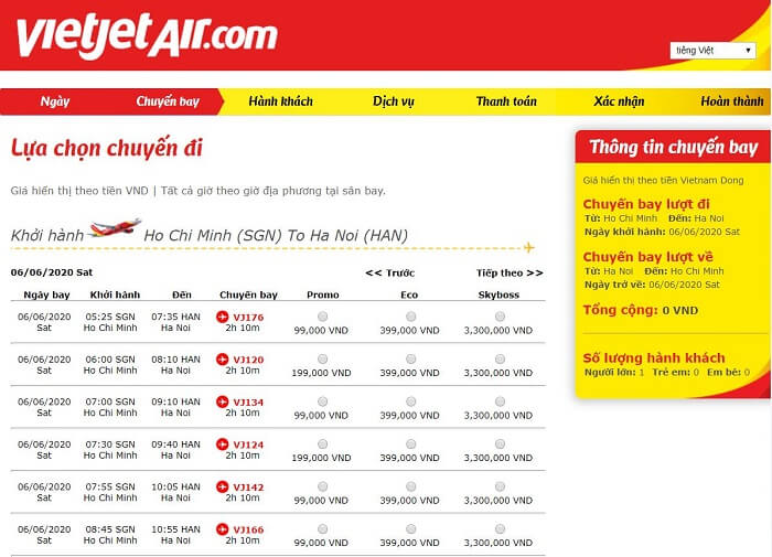 đặt vé nhanh của hãng hàng không Vietjet Air